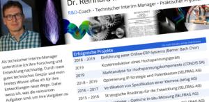 Interaktiver Lebenslauf von R&D-Coach Reinhard Müller-Siebert